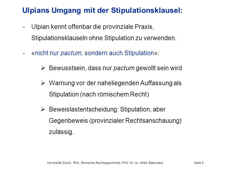 Ulpians Umgang mit der Stipulationsklausel: