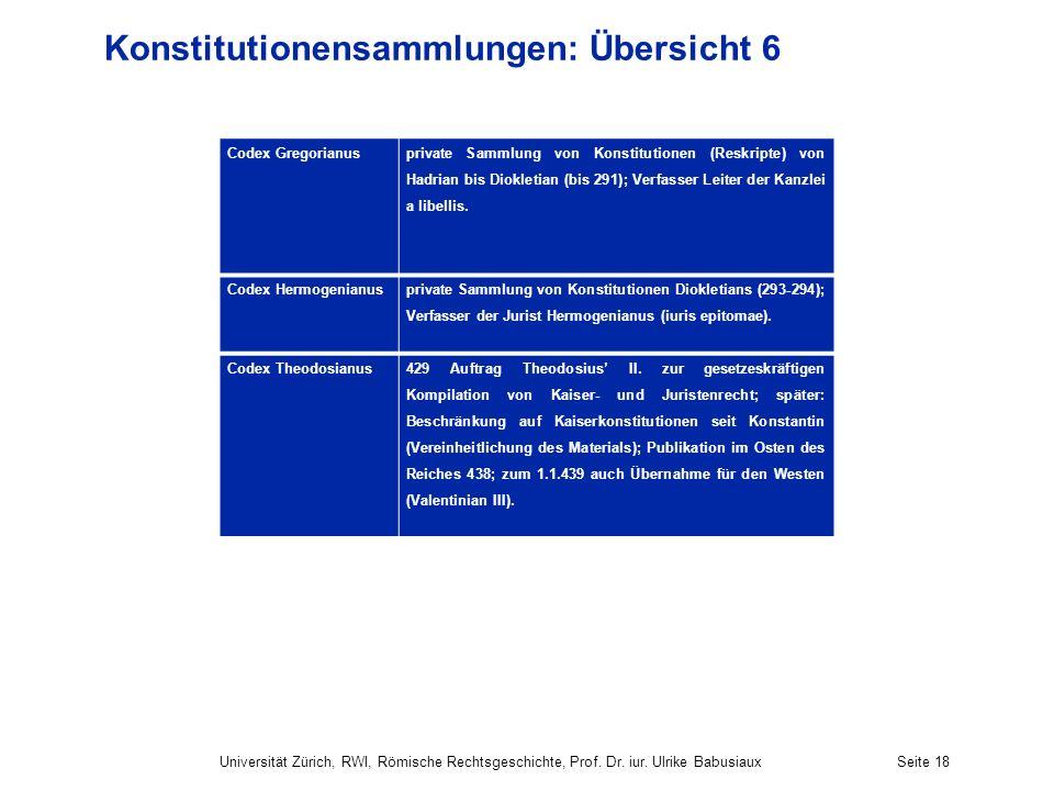 Konstitutionensammlungen: Übersicht 6