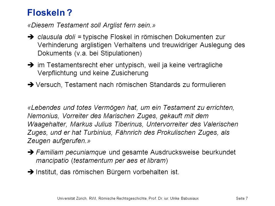 Floskeln «Diesem Testament soll Arglist fern sein.»
