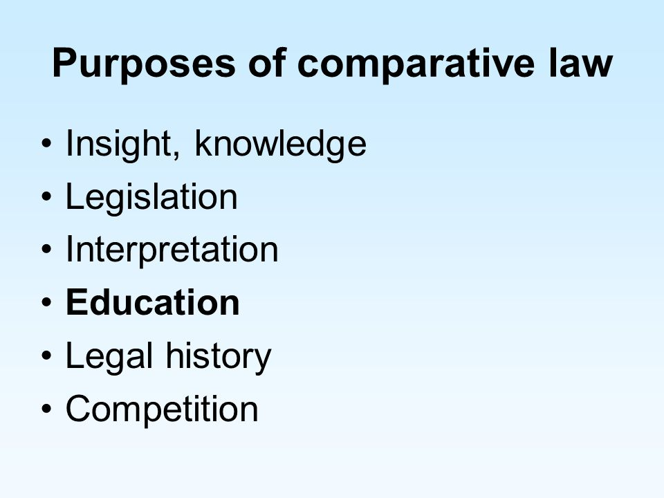 Purposes of comparative law