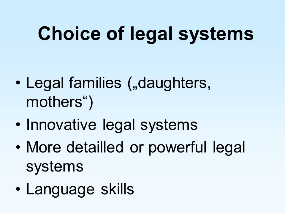 Choice of legal systems