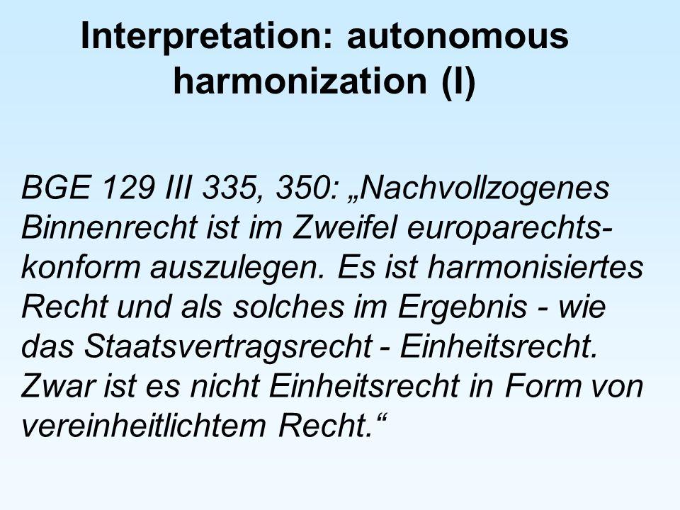 Interpretation: autonomous harmonization (I)