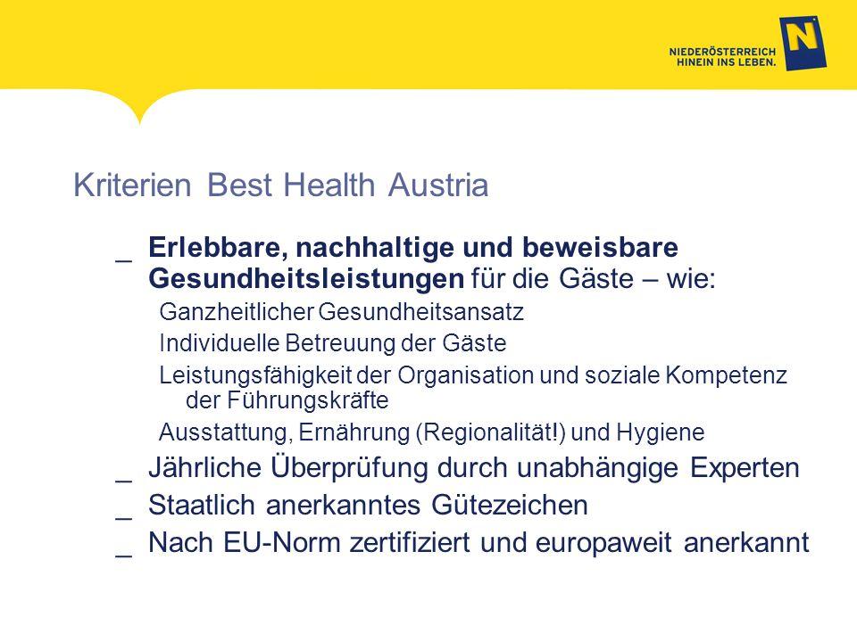 Kriterien Best Health Austria
