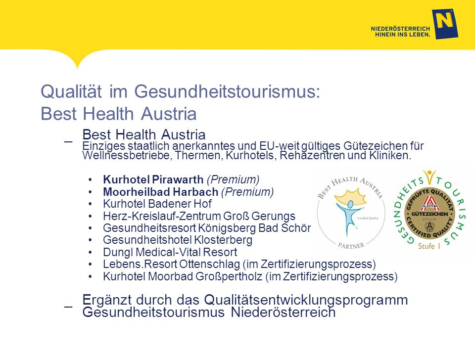 Qualität im Gesundheitstourismus: Best Health Austria