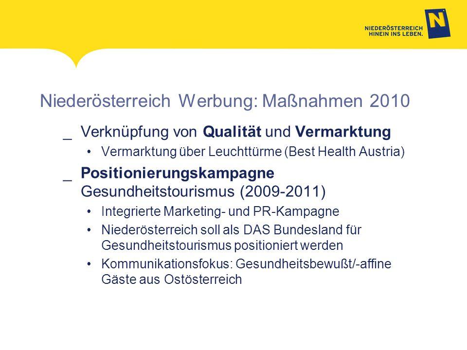 Niederösterreich Werbung: Maßnahmen 2010