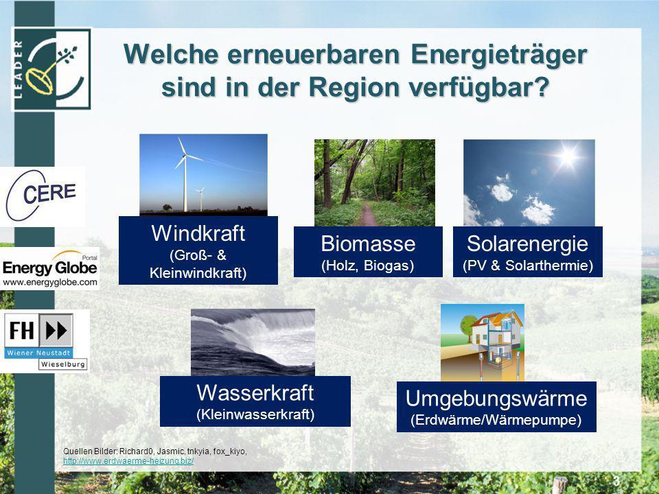 Welche erneuerbaren Energieträger sind in der Region verfügbar