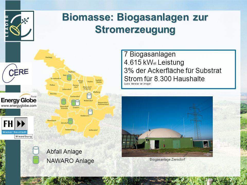 Biomasse: Biogasanlagen zur Stromerzeugung