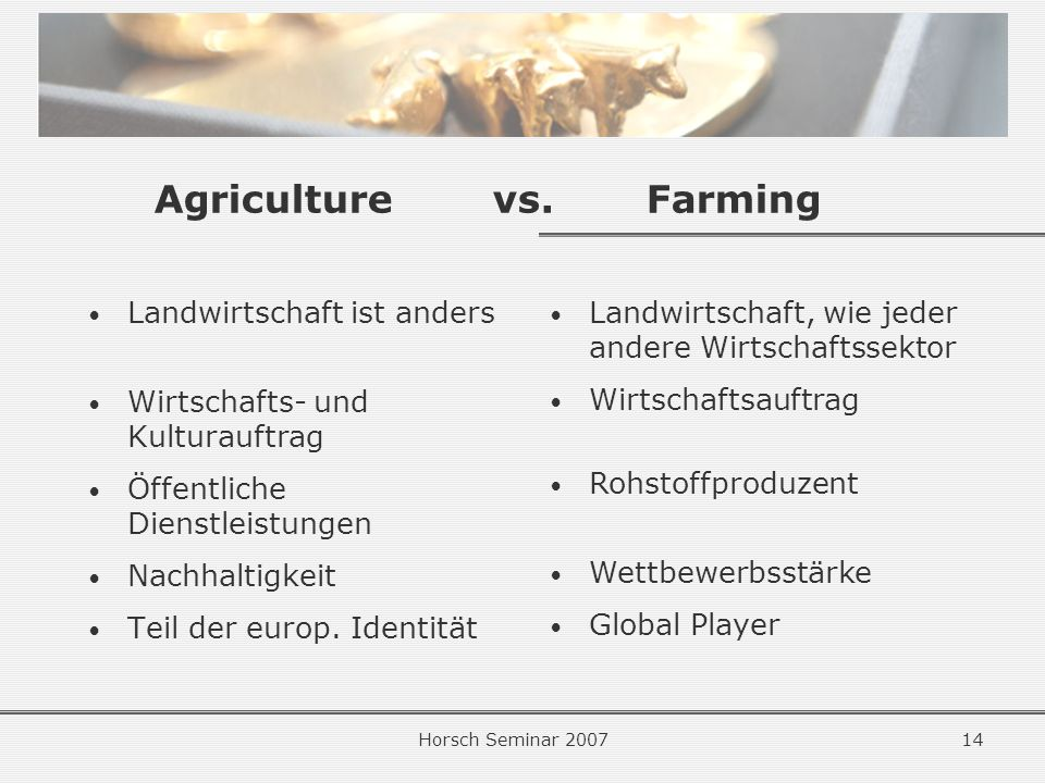 Agriculture vs. Farming