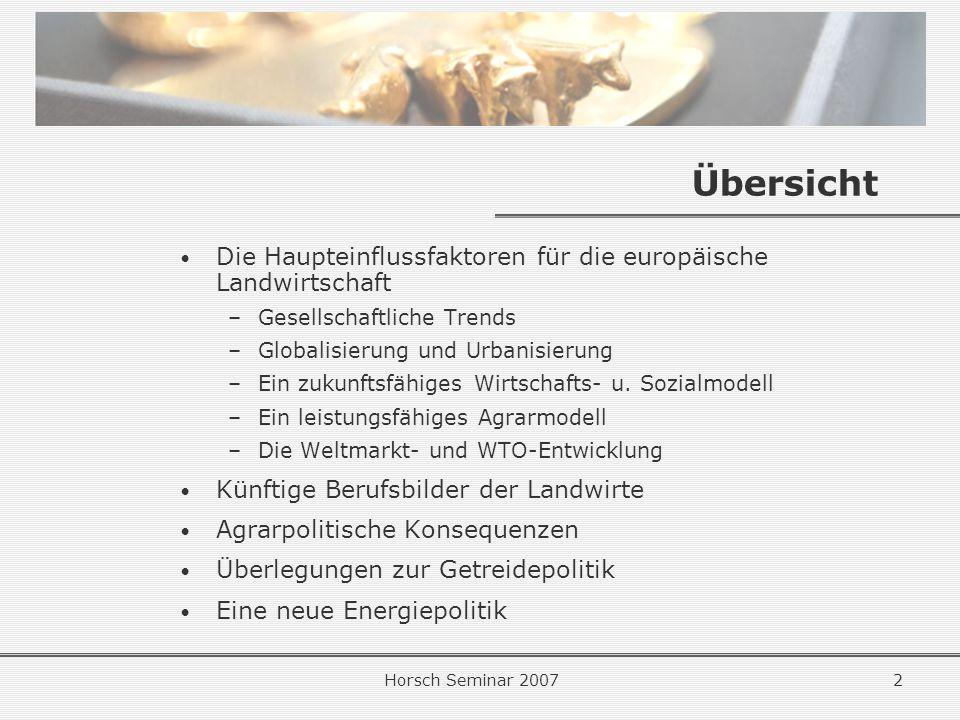 Übersicht Die Haupteinflussfaktoren für die europäische Landwirtschaft