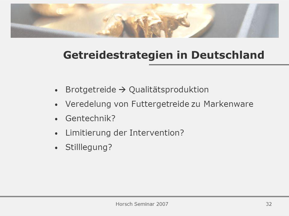 Getreidestrategien in Deutschland