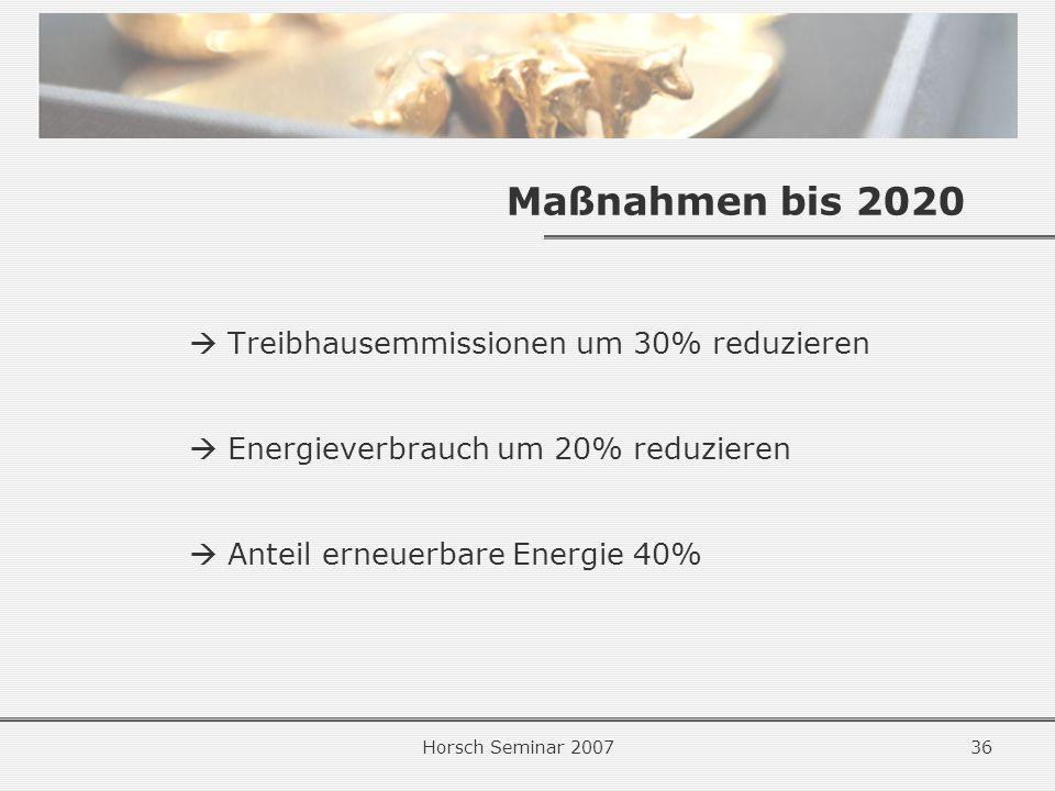 Maßnahmen bis 2020  Treibhausemmissionen um 30% reduzieren
