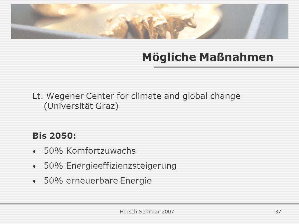 Mögliche Maßnahmen Lt. Wegener Center for climate and global change (Universität Graz) Bis 2050: 50% Komfortzuwachs.