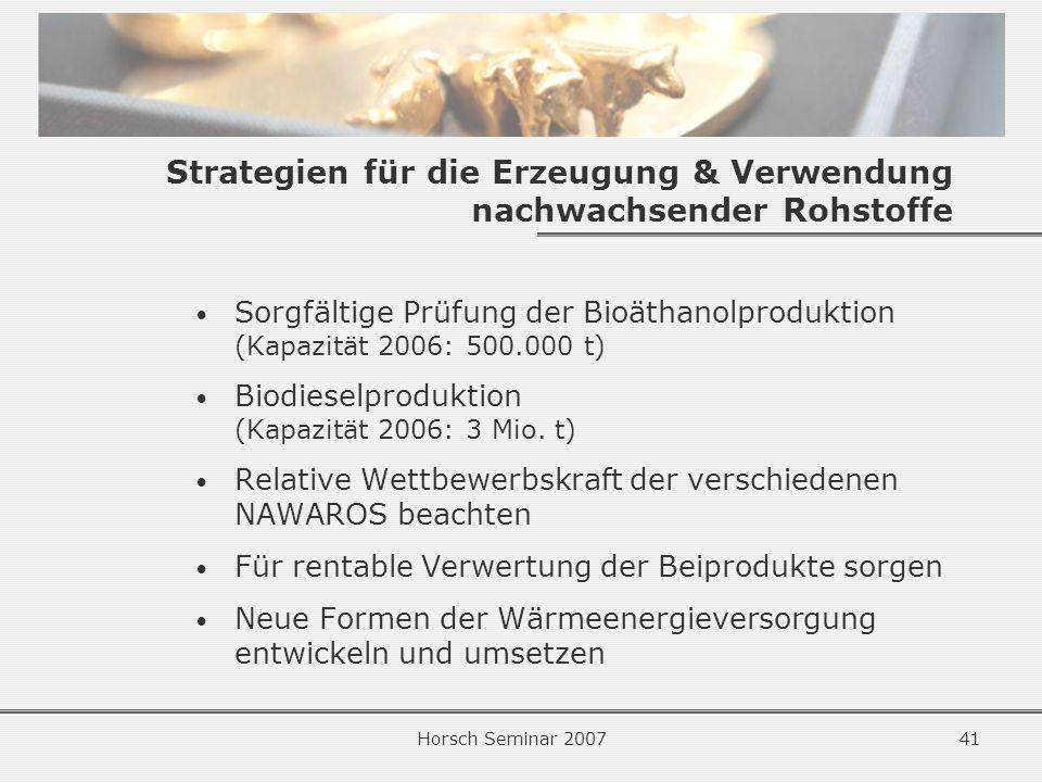 Strategien für die Erzeugung & Verwendung nachwachsender Rohstoffe