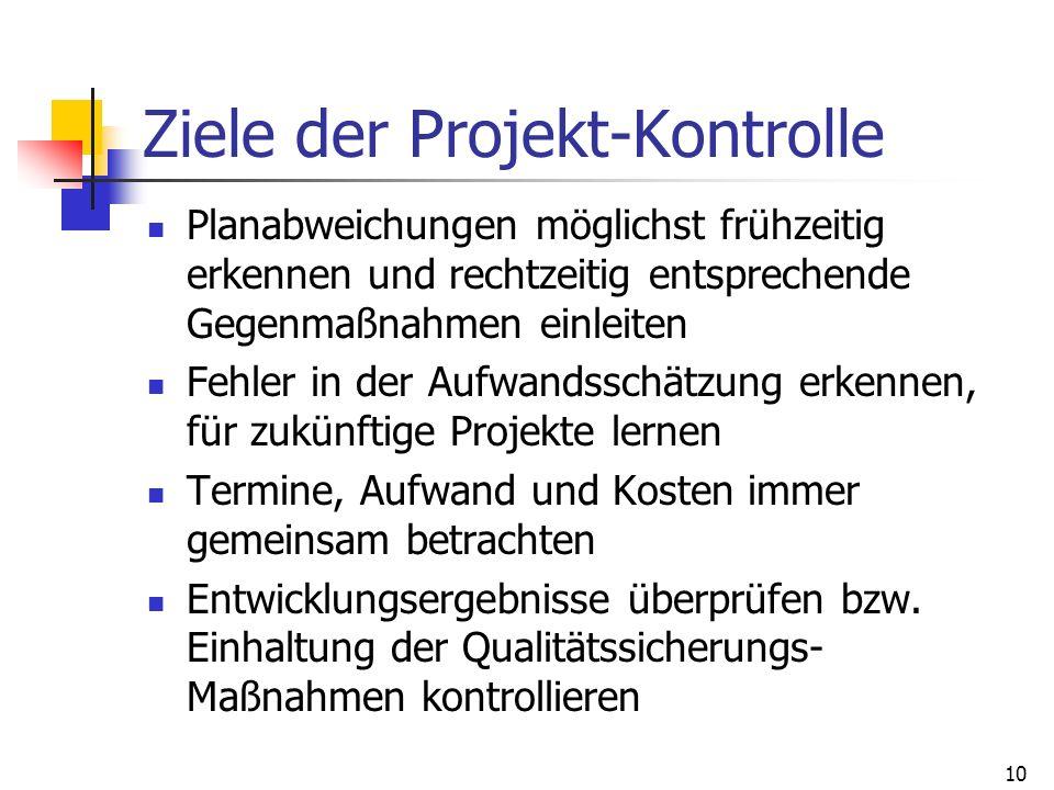 Ziele der Projekt-Kontrolle