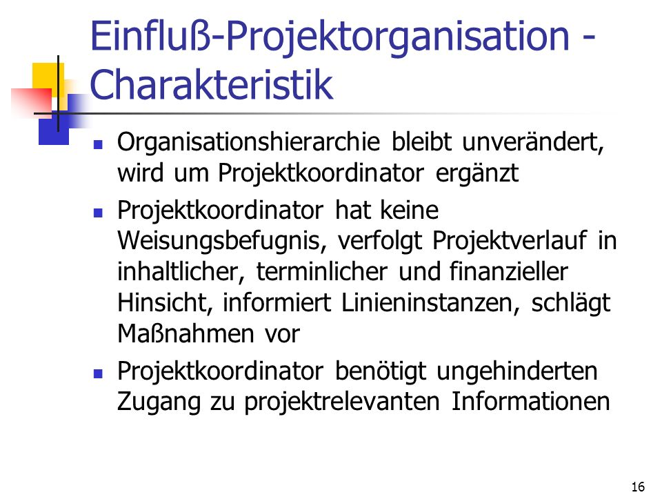 Einfluß-Projektorganisation -Charakteristik