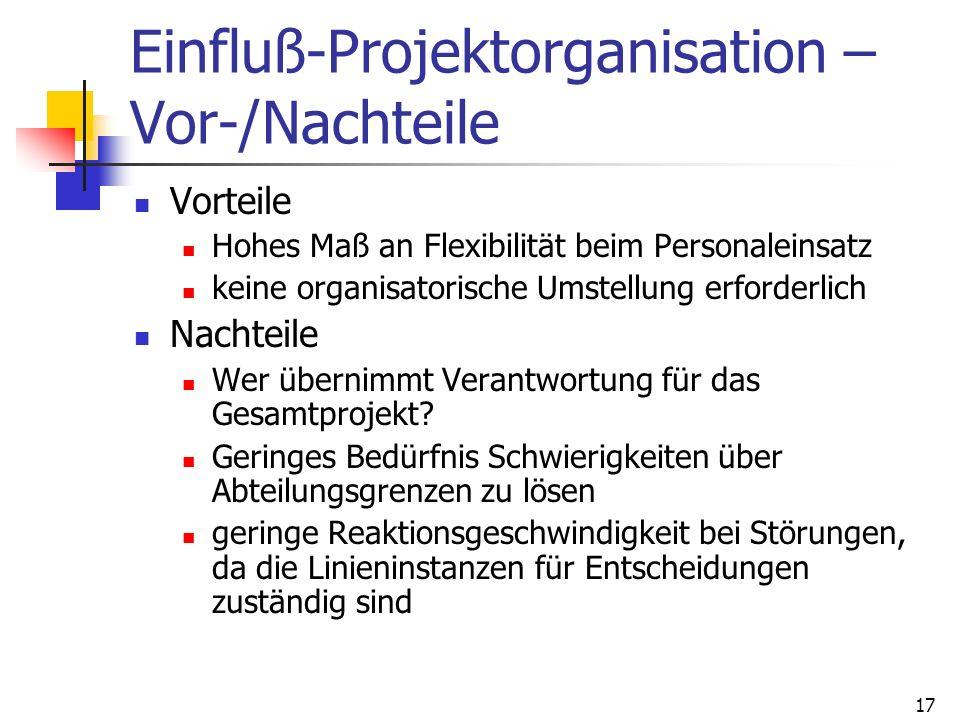 Einfluß-Projektorganisation – Vor-/Nachteile