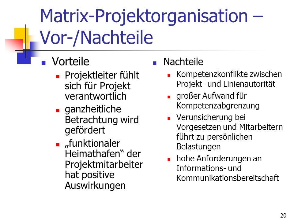 Matrix-Projektorganisation – Vor-/Nachteile