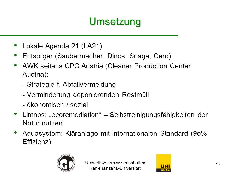 Umsetzung Lokale Agenda 21 (LA21)