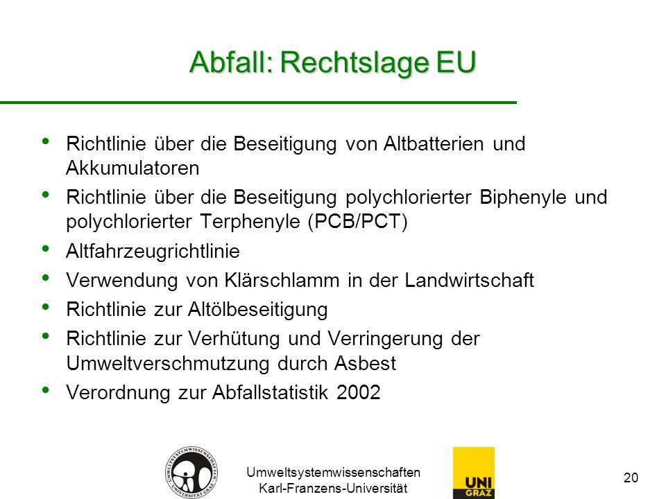 Abfall: Rechtslage EU Richtlinie über die Beseitigung von Altbatterien und Akkumulatoren.