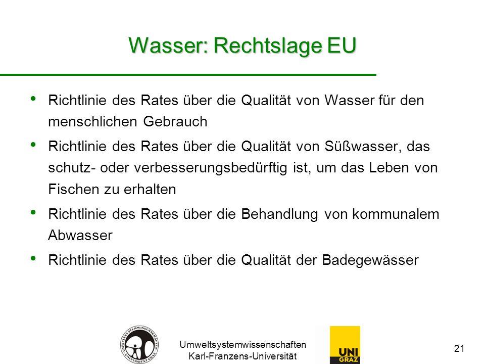 Wasser: Rechtslage EU Richtlinie des Rates über die Qualität von Wasser für den menschlichen Gebrauch.