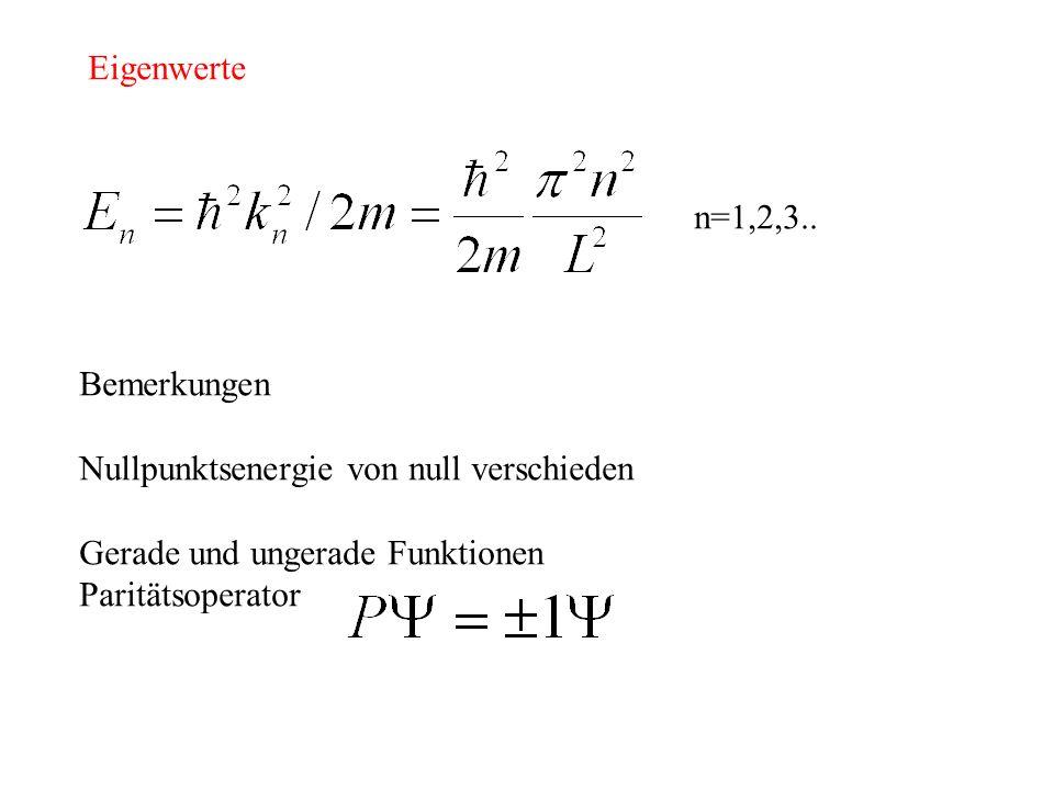 Eigenwerte n=1,2,3.. Bemerkungen. Nullpunktsenergie von null verschieden. Gerade und ungerade Funktionen.