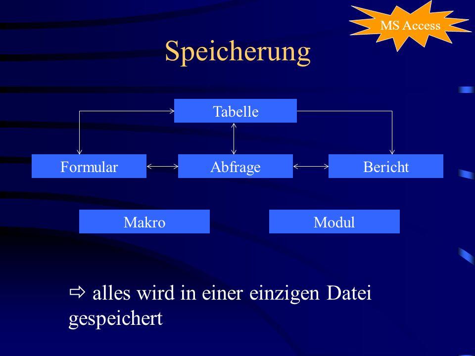Speicherung  alles wird in einer einzigen Datei gespeichert Tabelle
