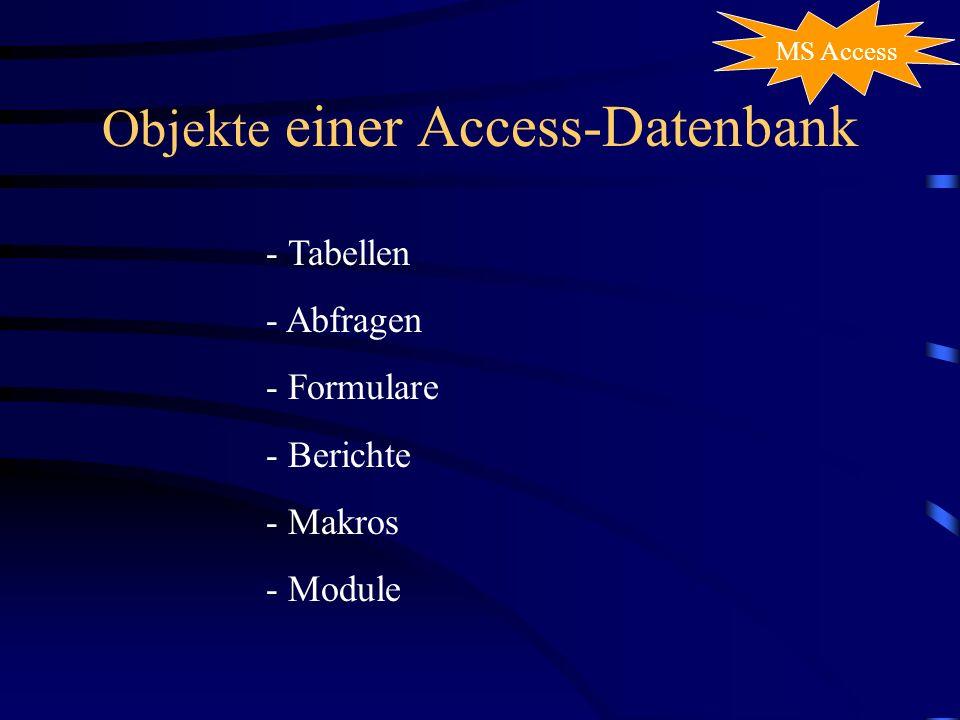 Objekte einer Access-Datenbank
