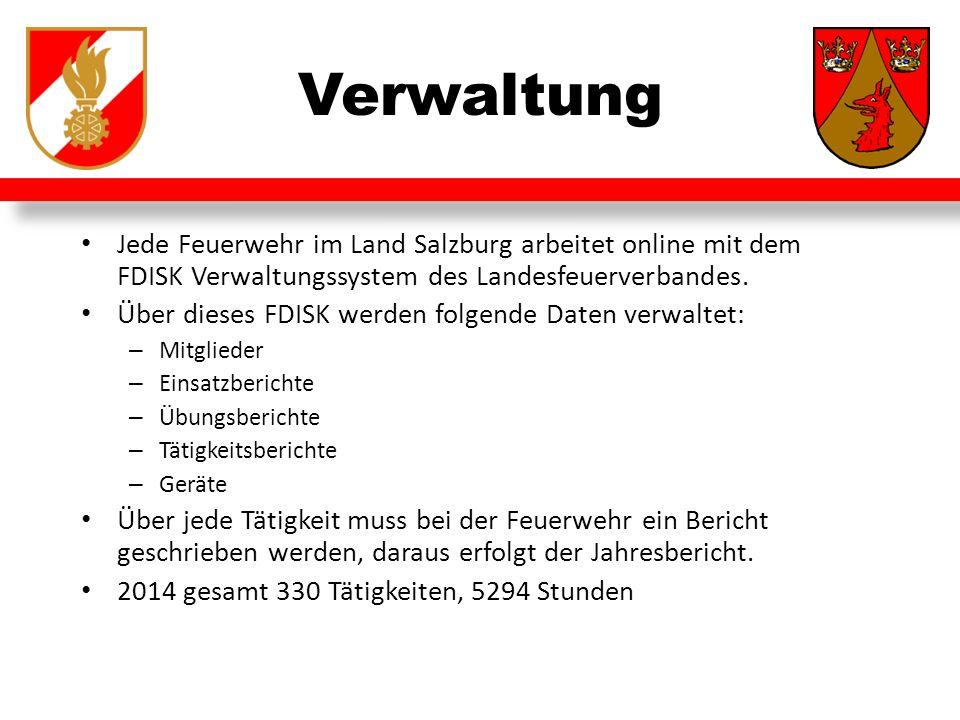 Verwaltung Jede Feuerwehr im Land Salzburg arbeitet online mit dem FDISK Verwaltungssystem des Landesfeuerverbandes.