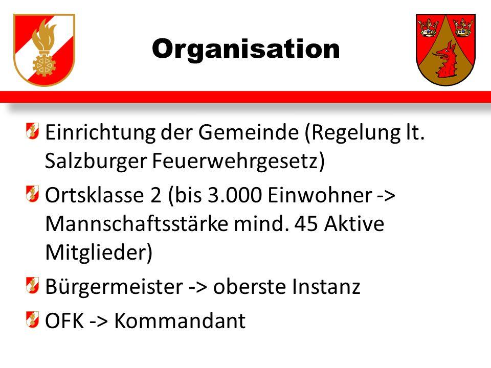 Organisation Einrichtung der Gemeinde (Regelung lt. Salzburger Feuerwehrgesetz)