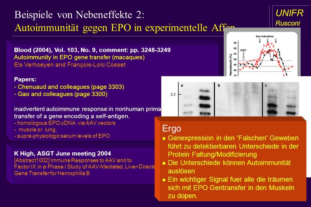Beispiele von Nebeneffekte 2: Autoimmunität gegen EPO in experimentelle Affen