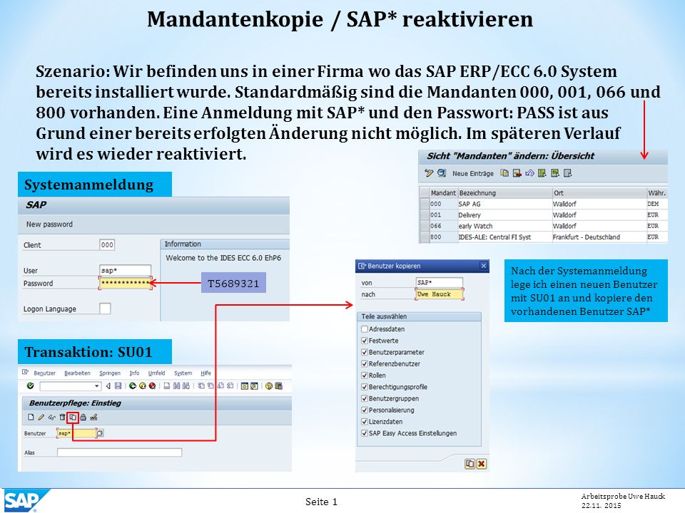 Mandantenkopie / SAP* reaktivieren