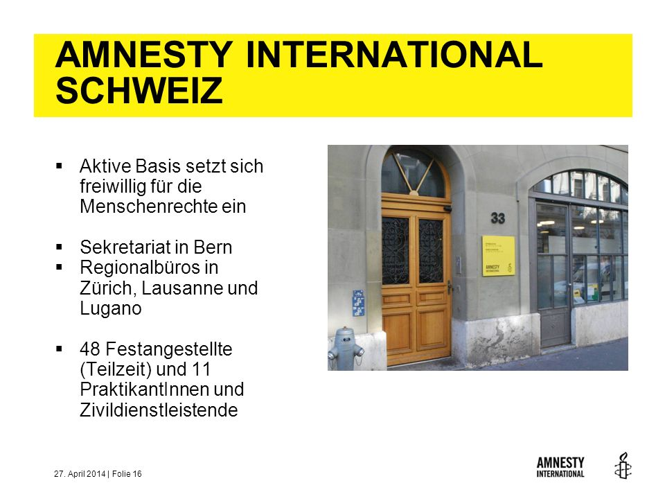 AMNESTY INTERNATIONAL SCHWEIZ