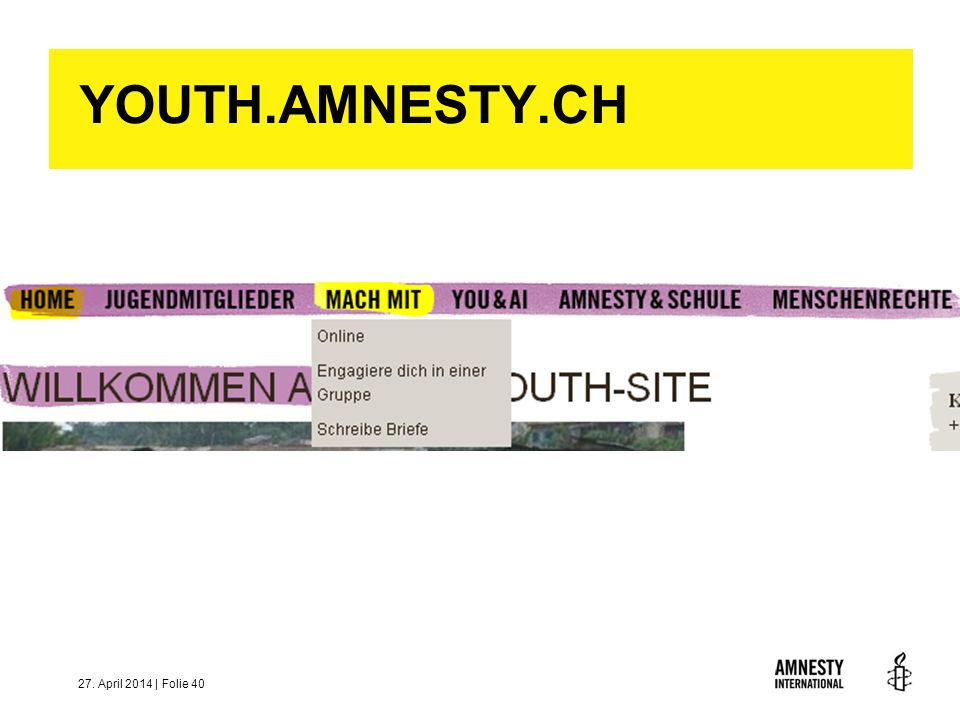 YOUTH.AMNESTY.CH 28. März 2017 | Folie 40