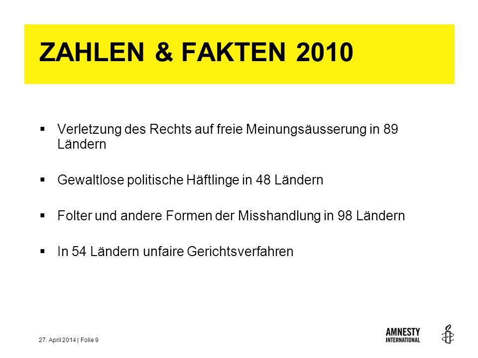ZAHLEN & FAKTEN 2010Verletzung des Rechts auf freie Meinungsäusserung in 89 Ländern. Gewaltlose politische Häftlinge in 48 Ländern.