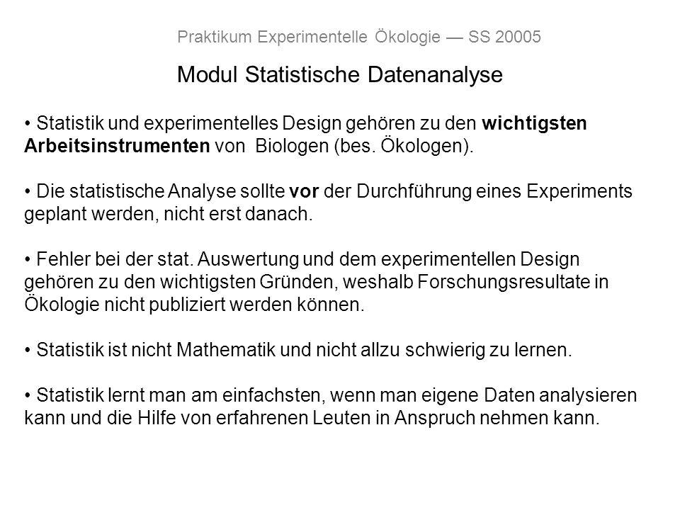 Modul Statistische Datenanalyse