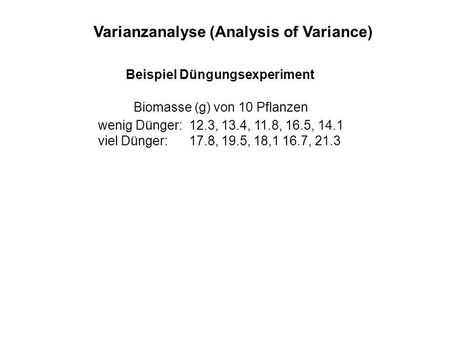 Varianzanalyse (Analysis of Variance)
