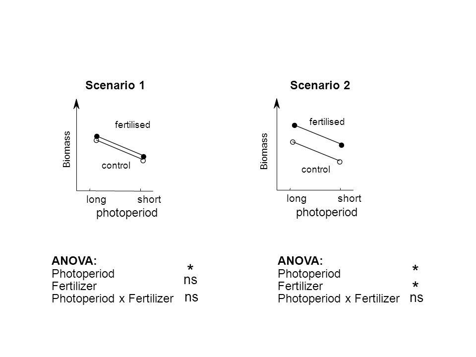 * * ns ns photoperiod Scenario 1 ANOVA: Photoperiod Fertilizer