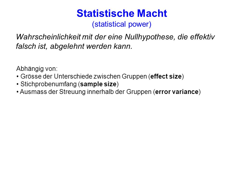 Statistische Macht (statistical power)
