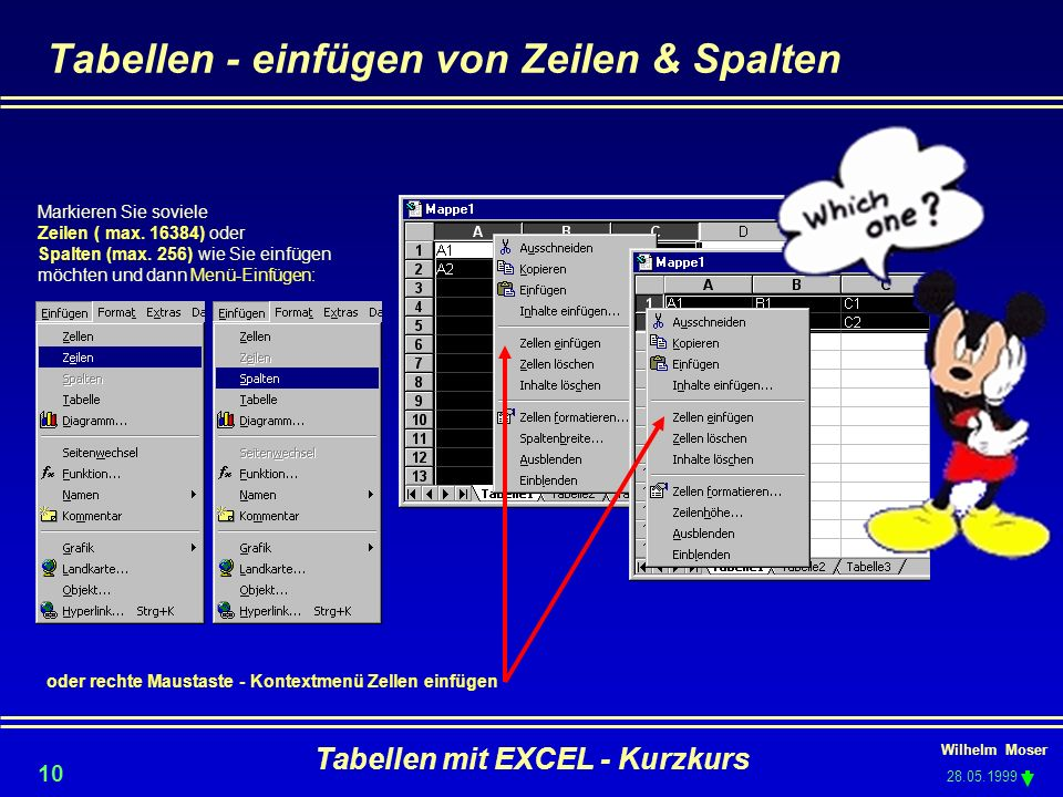 Tabellen - einfügen von Zeilen & Spalten