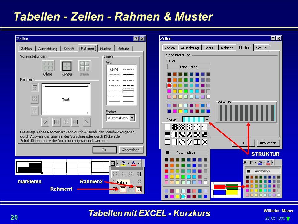 Tabellen - Zellen - Rahmen & Muster