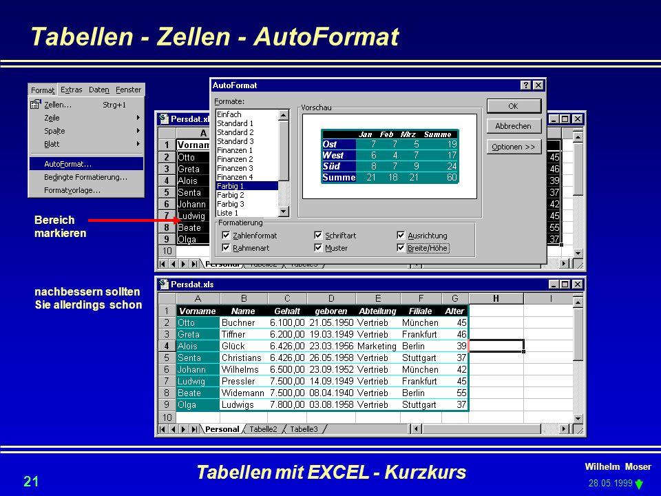Tabellen - Zellen - AutoFormat