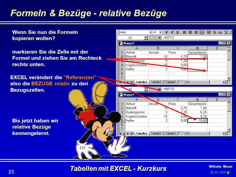 Formeln & Bezüge - relative Bezüge