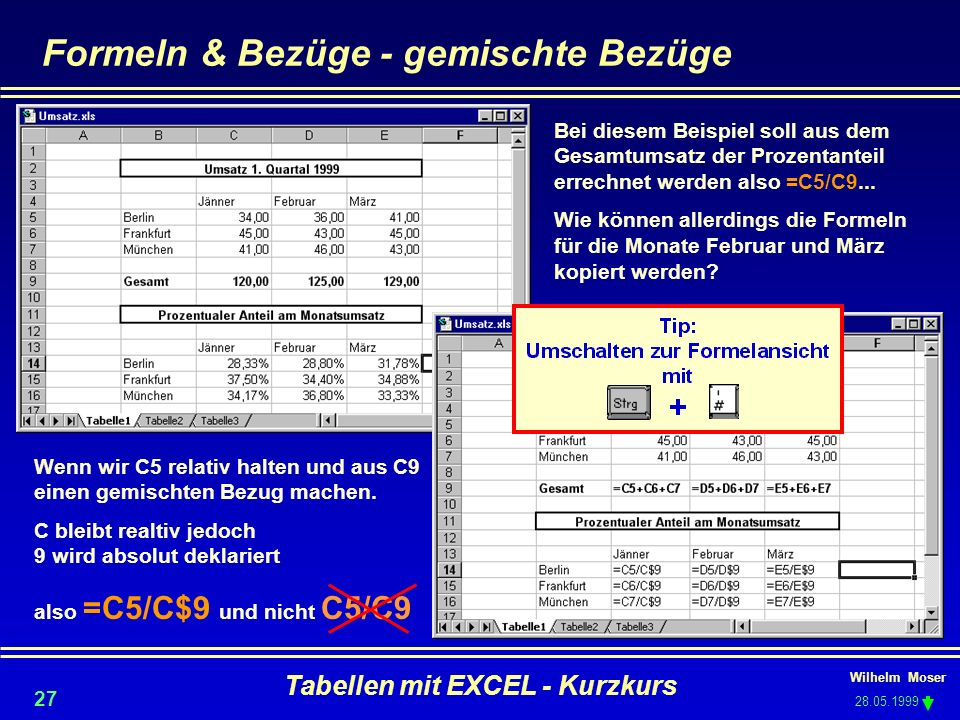 Formeln & Bezüge - gemischte Bezüge
