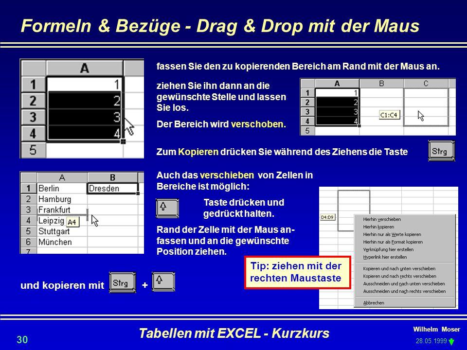 Formeln & Bezüge - Drag & Drop mit der Maus