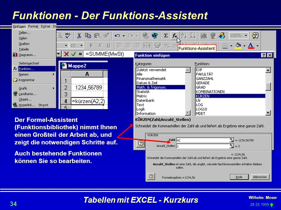 Funktionen - Der Funktions-Assistent