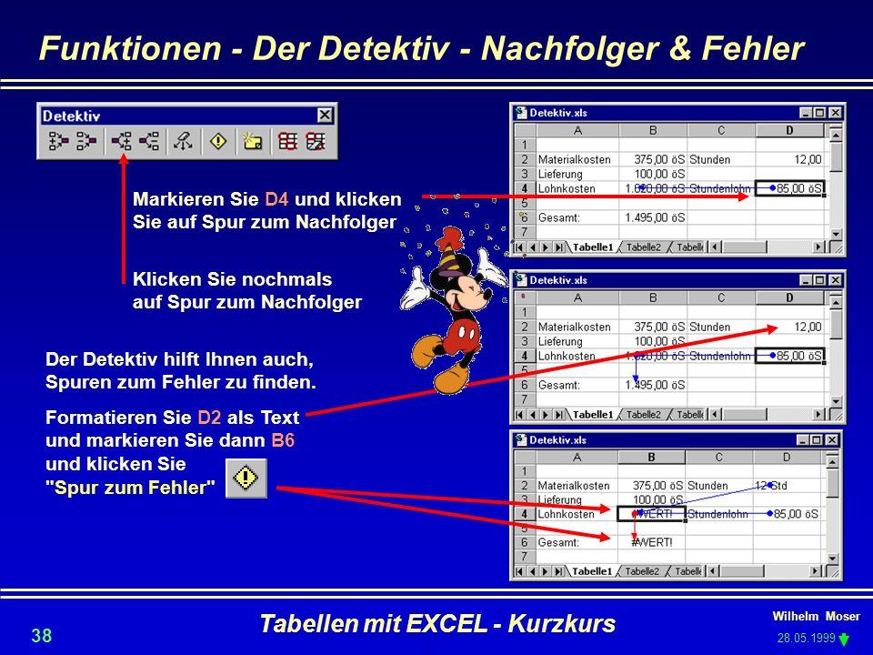 Funktionen - Der Detektiv - Nachfolger & Fehler