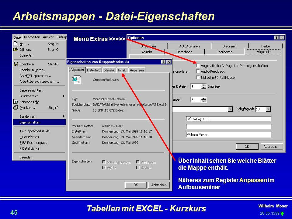 Arbeitsmappen - Datei-Eigenschaften