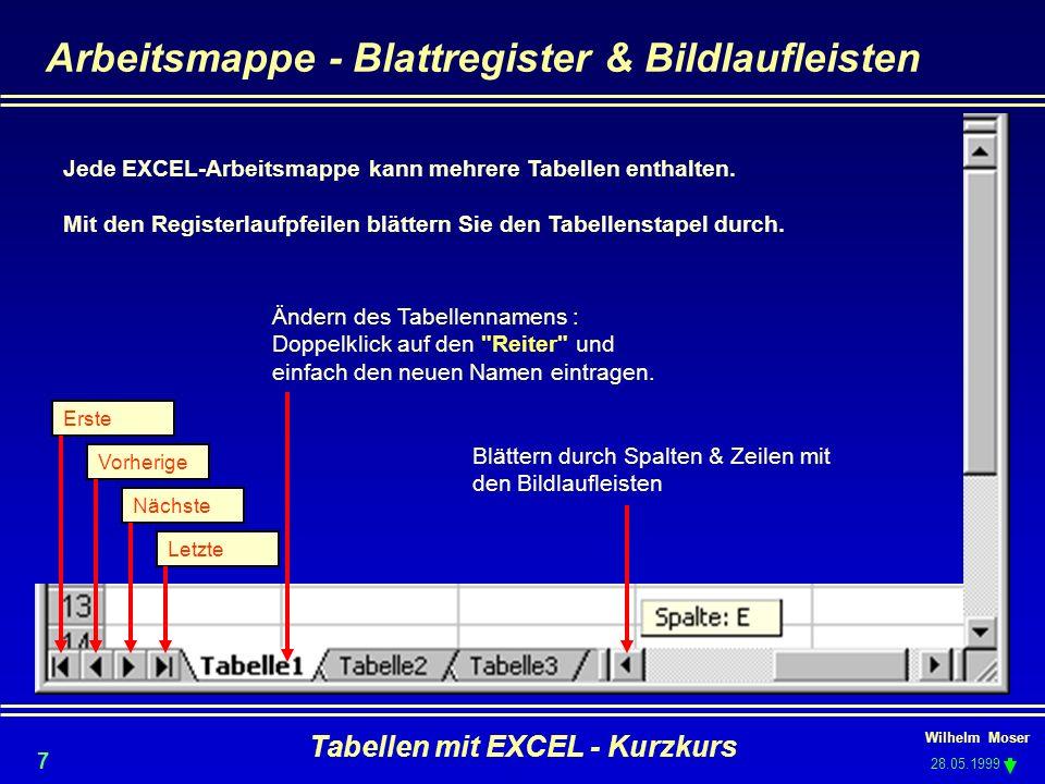 Arbeitsmappe - Blattregister & Bildlaufleisten