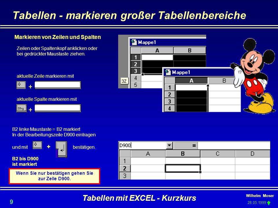 Tabellen - markieren großer Tabellenbereiche