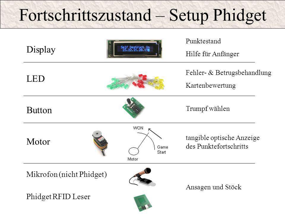 Fortschrittszustand – Setup Phidget
